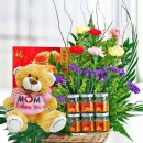 (Mom I Love U) 20cm Bear With Carnations & bird's nest