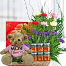 (Mom I Love U) Bear With Carnations & bird's nest 6 bottles