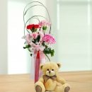 18cm Bear With 3 Mixed Carnations Standing Bouquet