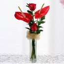 Red Anthurium & Roses in Glass Vase
