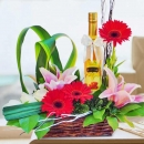 Natural Honey & Mixed Flowers Basket Arrangement