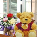 "12"" Teddy Bear & Carnation Handbouquet"