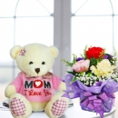 (mom i love u) 18cm Bear & 3 Mixed Carnations Standing Bouquet