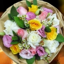12 Mixed Roses Wth Eustoma Hand Bouquet