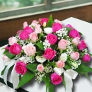 50 Roses Table Arrangement ( 25 Peach & 25 Hot Pink )