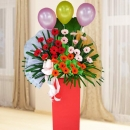 Mixed Color Gerbera Flowers In Box Stand Arrangement About 5 Feet Height