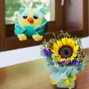15cm OWL Soft Toy With SunFlower Standing Bouquet