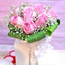 12 Peach Roses special wrapping Hand Bouquet