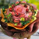 Peach Roses With Artificial Berry & twigs Special Hand Bouquet