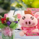 "Voice Recordable Piggy 6"" & Roses Bouquet"