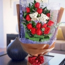 12 Red Roses Bouquet with 2 爱你宝贝 Bears