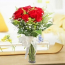 12 Red Roses In Glass Vase Arrangement