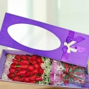 28 Red Roses in Gift Box