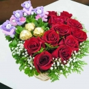LOVE Bear, 3 Rocher & 11 Red Roses Small Table Arrangement