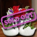 2 Mini Swan Vase With Live Plants & 3 Red Roses Standing Bouquet