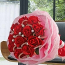 12 Artificial Red Roses Hand Bouquet