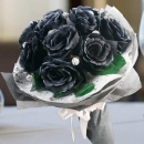 Artificial Black Roses Hand Bouquet