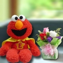 Elmo Plush Toys 30cm Height With 3 Mixed Roses Standing Bouquet