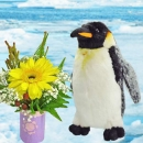 Penguin 8 inches With Gerbera Bouquet