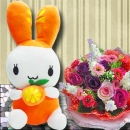 Bunny with Artificial Roses Hand Bouquet Delivery