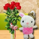 20cm Bunny With 6 Red Roses Standing Bouquet