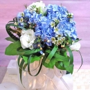 Blue hydrangeas with white Eustoma Bouquet-2 Days Advance Order