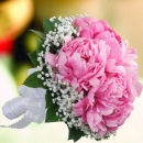 Peony Flowers With Baby's Breath Round Bouquet Delivery