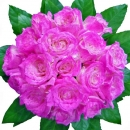 18 Pink Metalic Spray Color Roses Hand Bouquet