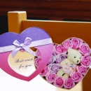 Handmade Rose Soap & Mini Bear In Heart-Shape Box.