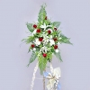 White lily and red roses 6 feet height arrangement