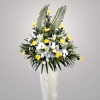 Chrysanthemum yellow with white Lily in metal stand 6 ft height