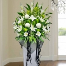 Artificial Lilies, Fresh Lilies & Chrysanthemum White box stand 5 feet height