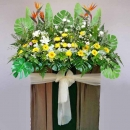 Bird of paradize with lily, yellow chrysanthemum and Gerbera...