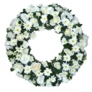 Wreath 20 inches With White Roses And PomPom (without stand)