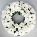 Eustoma Whith & PomPom Wreath 30cm (without stand)