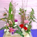 Pink Lily & Roses Mixed Table Arrangement