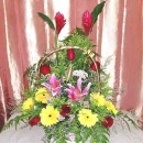 Mixed Lily and Roses Basket Arrangement