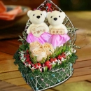 Fresh Roses, Artificial Cherry Berry & Bears in Heart-Shape Container
