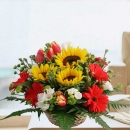 Sunflowers, Tulips & Gerbera Flowers Basket Table Arrangement