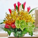 Green Anthurium & Orchids Table Arrangement