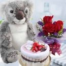 Towel Cake With Koala Bear & 3 Roses Bouquet.