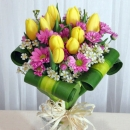 10 Yellow Tulip with Dracaena Foliage hand bouquet