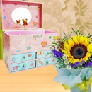 Sunflower Standing Bouquet & Musical Box