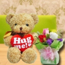 ( Hug Me ) Bear & 3 Mixed Roses Standing Bouquet