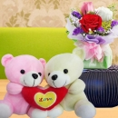 Couple Bear 15cm Height & 3 Mixed Roses Standing Bouquet