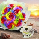 9 Handmade Rainbow Rose Soap HandBouquet & Message in a Bottle