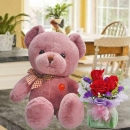 10 Inches Lavender Pink Bear with 3 Red Roses Standing Bouquet