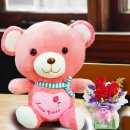 12 Inches Pink Bear with 3 Red Roses Standing Bouquet