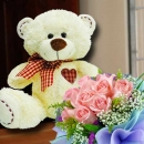 10 Inches Bear with 12 Peach Roses