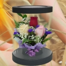 3 Mixed Roses in Cylinder Gift Box 20cm Height